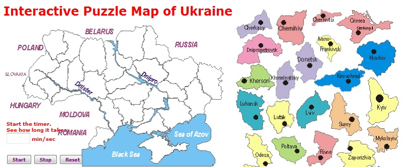Interactive Puzzle Map of Ukraine