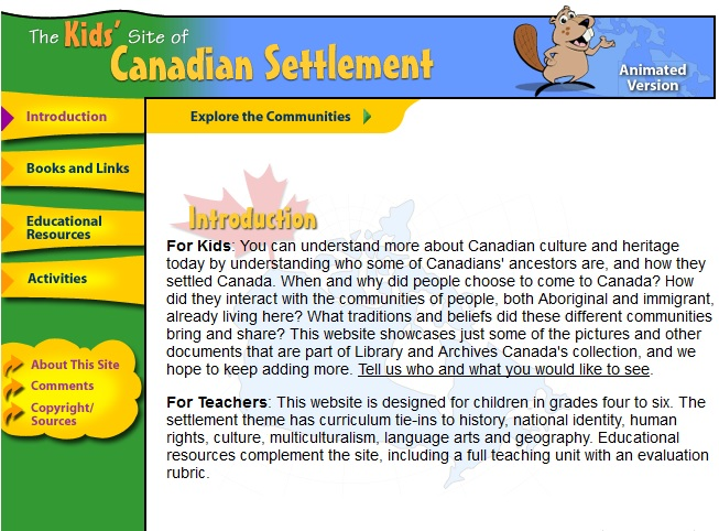 Kids' Site of Canadian Settlement